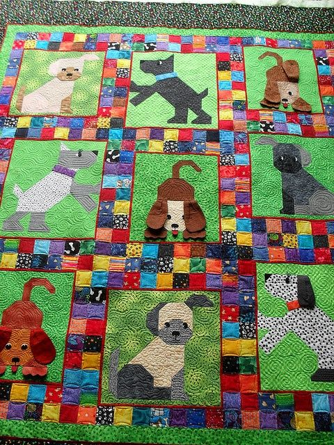 A cute dog quilt for children, or for the child in all of us.: