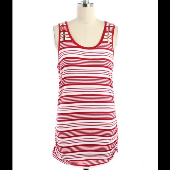 Michael Kors red striped tank top- SIZES: S/L/XL Brand-new with tags! Size small, large, and extra large. Cute gold zippers on the shoulders. Flattering ruching on the side. It's a super cute long tank. Also available in a beautiful blue and white color and yellow and white and Aqua and white. Michael Kors red striped tank top- SIZES: S/L/XL Michael Kors Tops Tank Tops