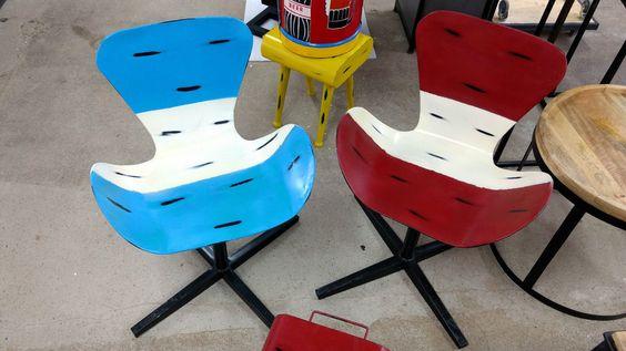 Industrial Drehstuhl Stuhl Vintage Retro aus Metall Höhenverstellbar blau / rot