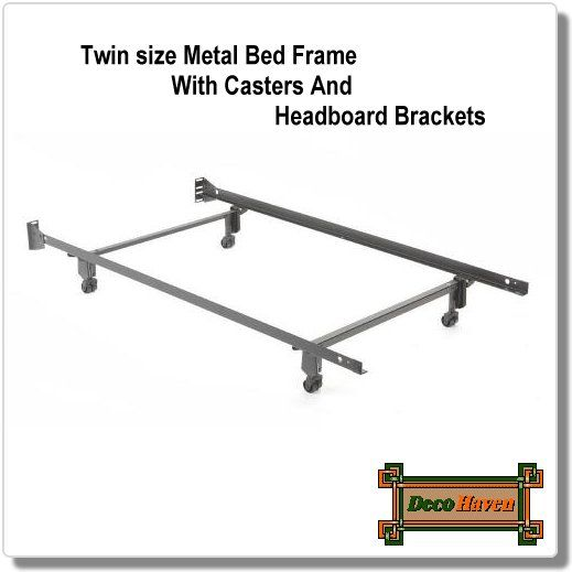 Twin Size Metal Bed Frame With Casters And Headboard Brackets