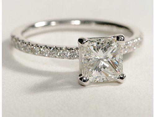 Blue Nile: Princess Cut, Petite Pave Diamond Engagement Ring. PERFECT!:)