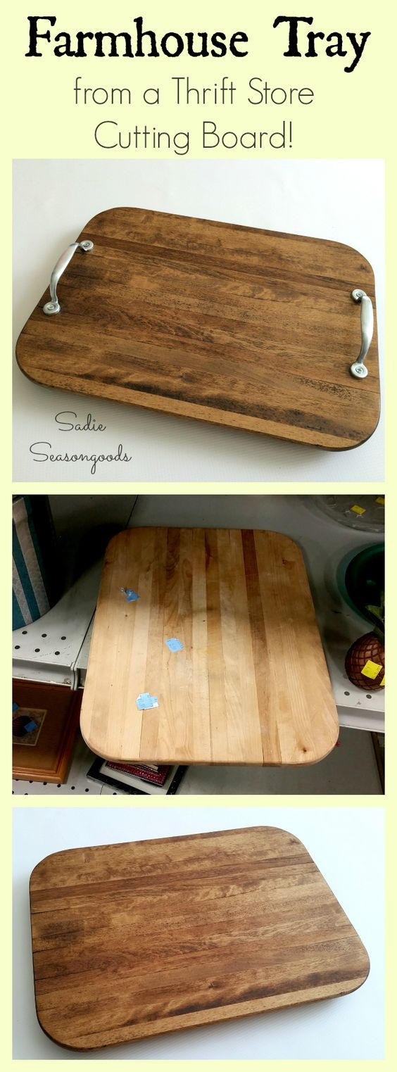 Just in time for entertaining guests this holiday season...a DIY tray upcycled from a thrift store cutting board! A little TLC goes a long way with an old wood cutting board...and it's super easy (and cheap!) to repurpose it into a rustic, farmhouse-style tray that looks like salvaged barn wood! Perfect for setting out coasters, napkins, and bowls of snacks- AND it'll protect your furniture from water rings! #SadieSeasongoods: