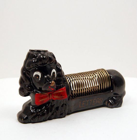 Vintage Ceramic Dog Letter & Pencil / Pen by iheartvintagethrift, $11.00