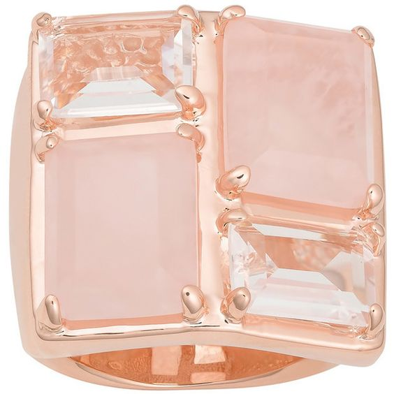 Oro Rosa 18k Rose Gold over Bronze Rose Quartz and  Crystal Ring (105 CAD) ❤ liked on Polyvore featuring jewelry, rings, 18 karat gold ring, pink white gold ring, bronze jewelry, rose quartz crystal ring and white ring