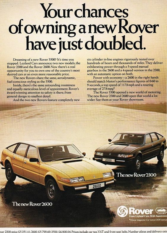 Musings from my Garage: Classic Car ads - Rover SD1