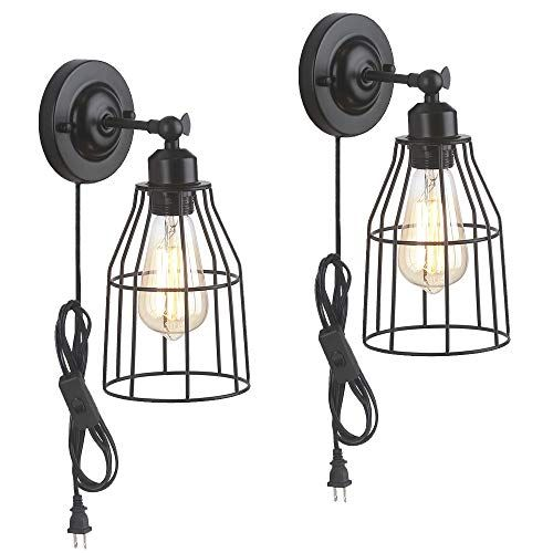 Zz Joakoah 2 Pack Rustic Wall Sconce With Plug In Cord And Toggle Switch Black Metal Cage Indus Industrial Wall Lamp Farmhouse Wall Sconces Rustic Wall Sconce Wall light fixtures with cord