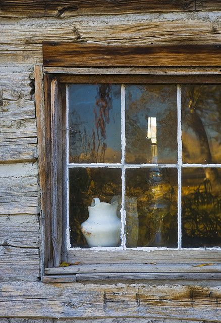 ironstone in cabin window: