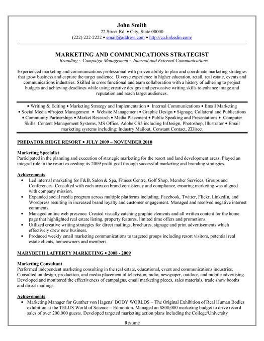 A Professional Resume Template For A Marketing Specialist Want It Download It Now Businessr Marketing Resume Professional Resume Samples Job Resume Samples