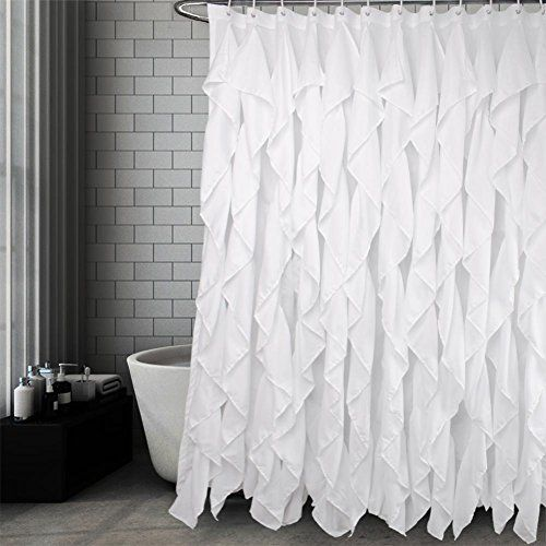 Volens Long White Ruffle Shabby Chic Farmhouse Shower Curtain In