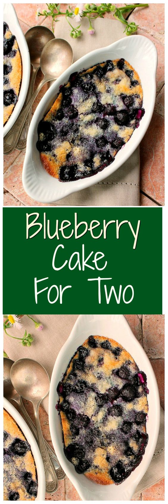 Blueberry Cake For Two Recipe via Bunny's Warm Oven...This dessert for two is packed with a terrific blueberry flavor! The recipe can be doubled or tripled without any problem at all and still be mixed and ready for the oven in 10 minutes.