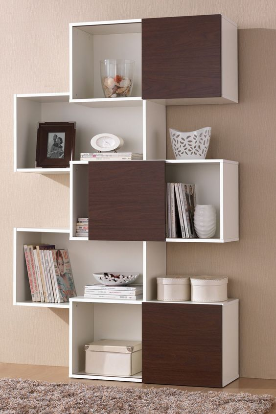 Brown doors bookshelves and modern bookshelf on pinterest - Modern bookshelf plans ...