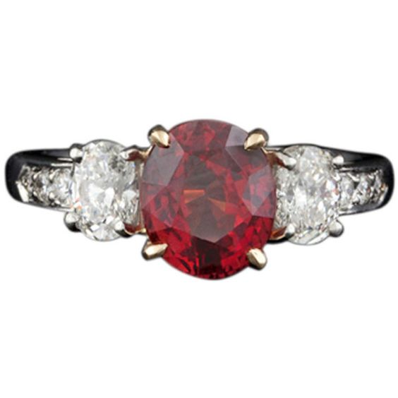 Red Sapphire & Platinum Diamond Ring (13 045 AUD) ❤ liked on Polyvore featuring jewelry, rings, red, platinum jewellery, platinum jewelry, platinum ring, red diamond jewelry and oval stone ring