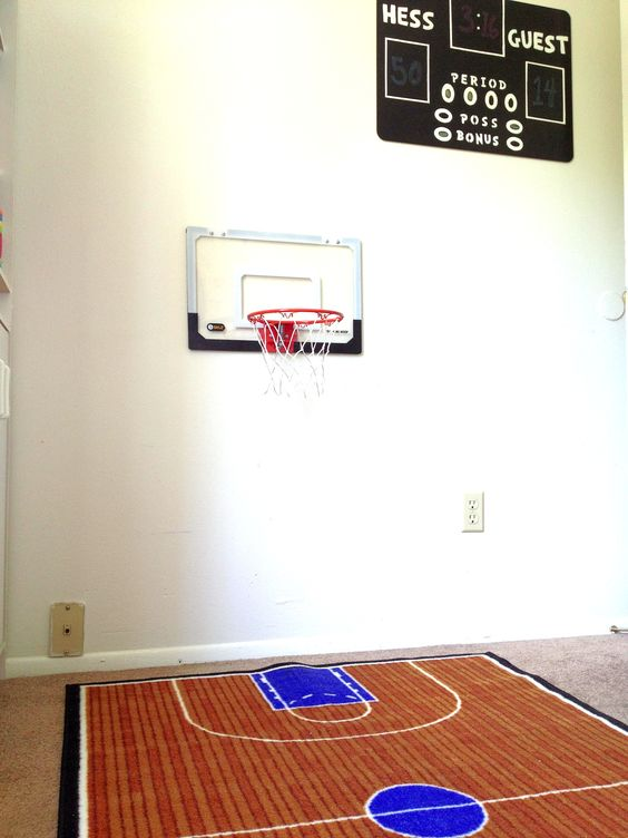 basketball décor - basketball rug with black dry erase scoreboard