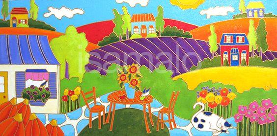 Le jardin de la voisine par Isabelle Malo • Acrylique sur toile • Folk art  • www.isamalo.com • Artiste peintre du Québec •Art naïf