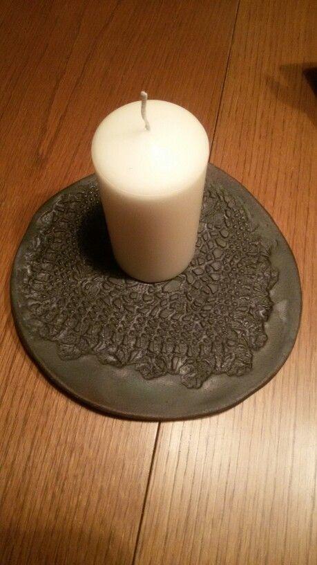 Teller Keramik Häkeldecke