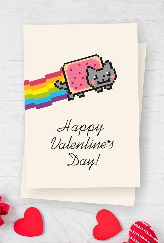 Nyan Cat Themed Meme Valentines Day Printable Greeting Card Etsy Valentines Memes Printable Greeting Cards Geek Valentine