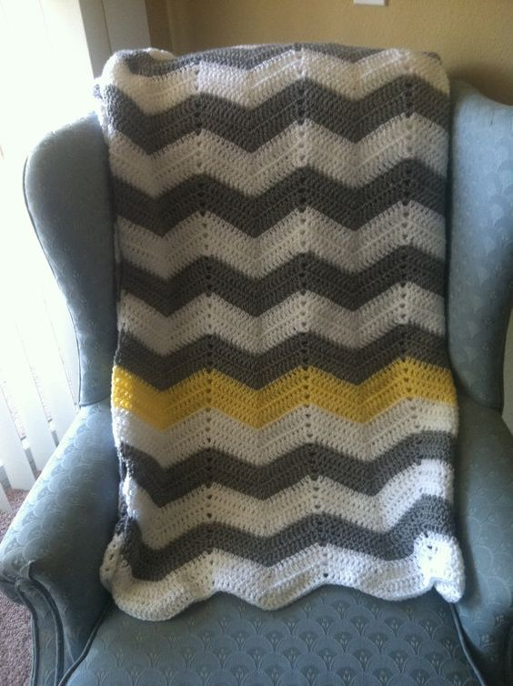 white, gray chevron crochet blanket with yellow stripe ...