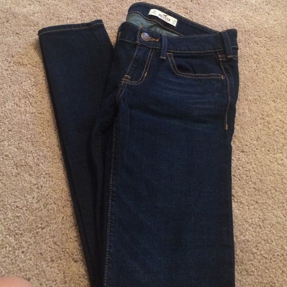 NWOT dark wash super skinny jeans New without tags. Dark wash hollister super skinny denim. Wait 24. Length 31. These do not stretch very much at all. Never worn. NO TRADES. Hollister Jeans Skinny