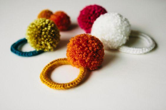 :: crocheted pom pom hair ties