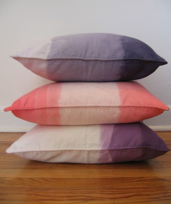 Ombre by CapellaKID on etsy: Dyed Cushions, Diy Ombre, Living Room, Ombre Dip N Dye, Ombre Pillows, Dye Pillows, Throw Pillows, Dip Dyed, Dyed Pillows