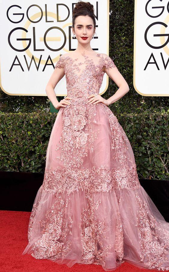 Lily Collins in Zuhair Murad - 2017 Golden Globes: