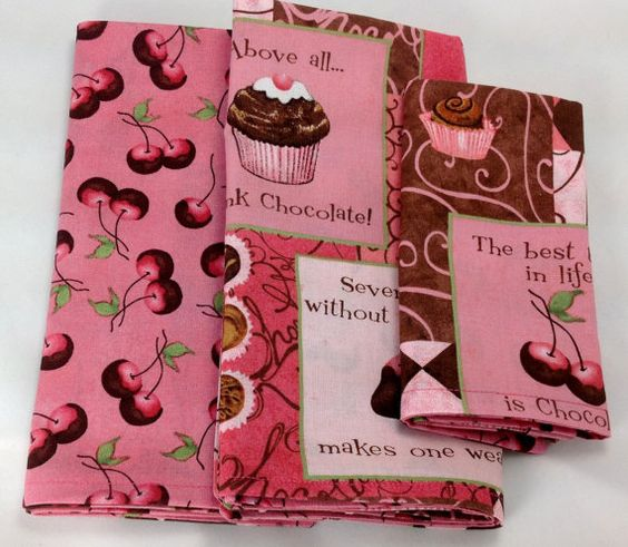 Designer Chocolate Cherries fabric doublesided by BiancasGifts, $29.95