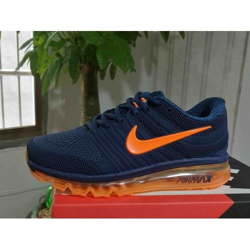 new concept temperament shoes separation shoes New Nike Air Max 2017 Mens Running Shoes Dark Blue Orange ...