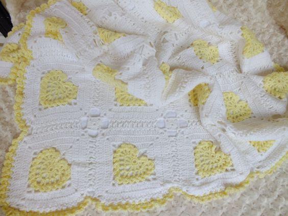 Crochet Baby Blanket//Heart Blanket//Baby Shower Gift// Photo Prop//Yellow Heart Blanket//Super Soft Blanket
