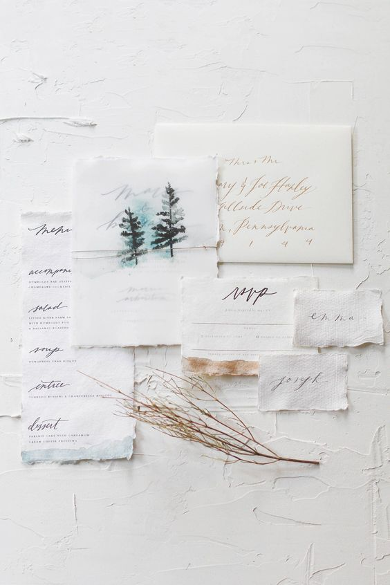 Obsessed with this wedding invitation suite and the watercolor details! | Forest Wedding Invitations | Unique Wedding Invitations | Winter Wedding Stationery | Mountain Wedding | Wedding Calligraphy | Mountain Wedding Invites | #weddinginvitations #weddingstationery #WeddingInvitationRustic