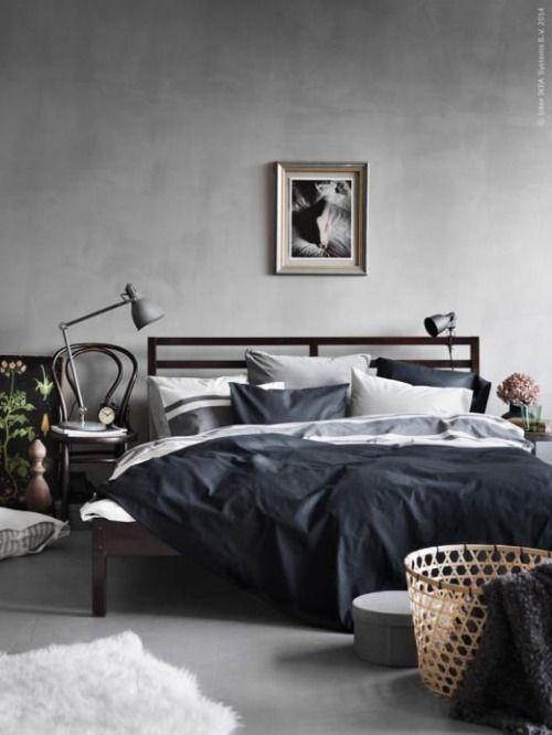 Dark masculine bedroom | IKEA-based bedroom inspiration: #currentlycoveting  #holidays2015 #holidaze