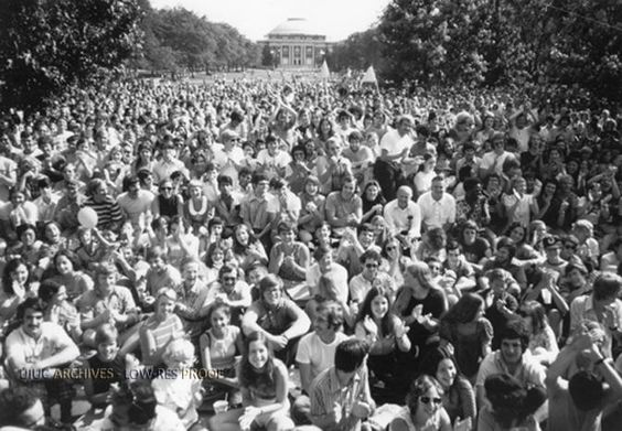 Gathering on The Quad at The University of Illinois circa 1970
