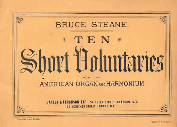 Ten Short Voluntaries For The American Organ Or Harmonium, Bruce Steane