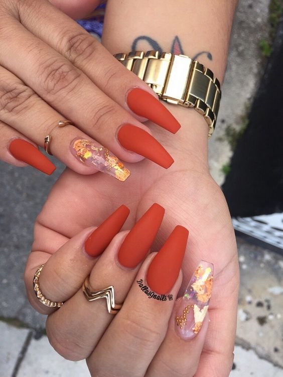 70 Attractive Acrylic Coffin Nails To Try This Fall Koees Blog Fall Acrylic Nails Luxury Nails Orange Nails