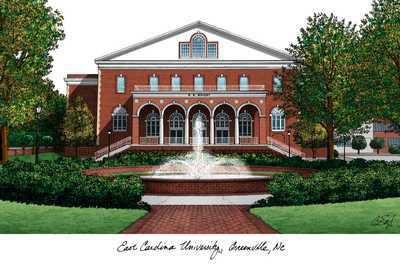 East Carolina University Campus   ECU East Carolina University Campus Landmarks Art Print
