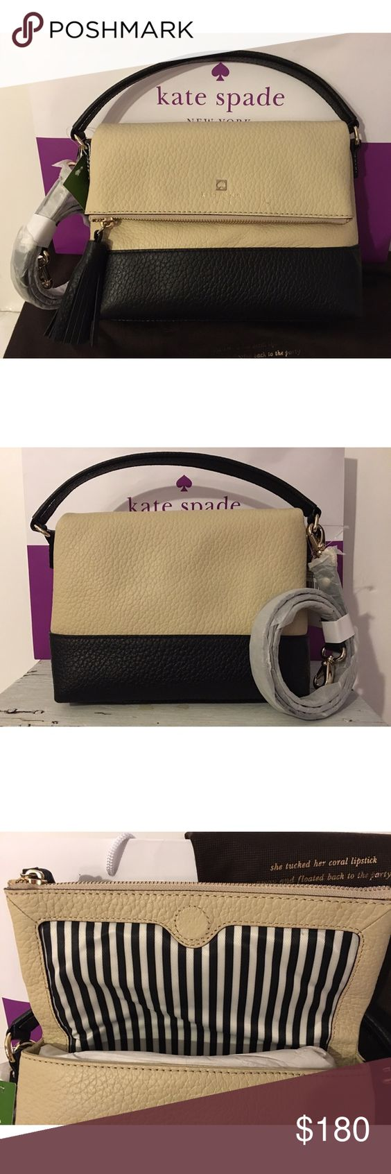 """KATE SPADE MINI CARMEN SOUTHPORT AVE. HANDBAG-NWT Kate Spade♠️mini Carmen Southport Ave handbag buttermilk and black. New with tags attached. Comes with shoulder strap that is detachable.                                                              Soft black pebbled leather Top handle with 4"""" drop. Additional removable strap with 18""""-22"""" 14 karat gold plated hardware Front flap hidden magnetic snap closure Signature stripe lining  Interior two slip and one zip pockets 11""""L x 8""""H x 3 1/2"""" W…"""
