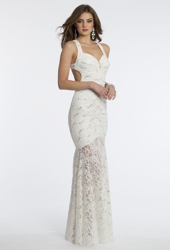 Camille La Vie Sequin Lace Halter Prom Dress with Cutout Sides