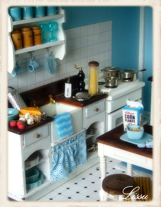 so so sweet-I think I may have pinned this little turquoise kitchen before, but I just had to pin it again-just in case! :)
