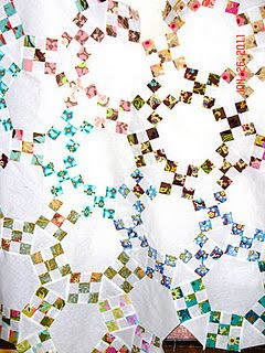 jack's chain, made with strip-pieced 9 patch blocks, hexagons and triangles!