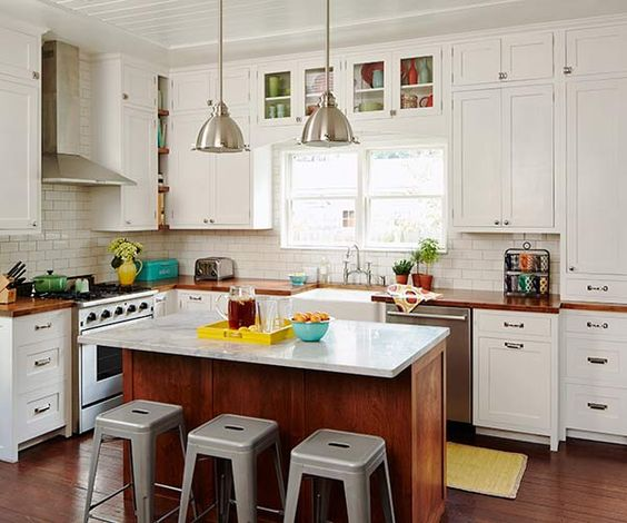 Styling Kitchen Counters: Kitchens, Shaker Style Cabinets And Industrial Stool On Pinterest