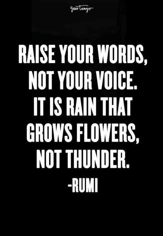 """""""Raise your words, not your voice. It is rain that grows flowers, not thunder."""" — Rumi #quotes #inspirationalquotes #inspiringquotes #inspo #motivationalquotes #motivatingquotes #inspiration #inspirational 