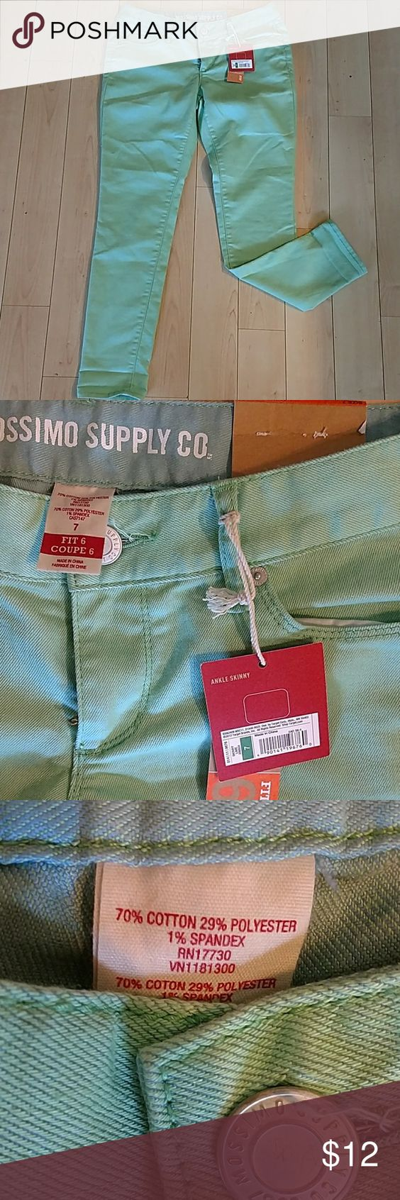 "NWT light green skinnies NWT green skinnies. Cute with all your spring tops. Inseam approx 28"", waist lying flat across approx 15"". Mossimo Supply Co Jeans Skinny"