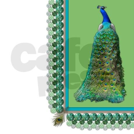 """An elegant peacock looks over his shoulder in the bright chartreuse corner of this design, all bedecked with """"glass"""" baubles and a corner feather on a field of basic white to make the colors"""