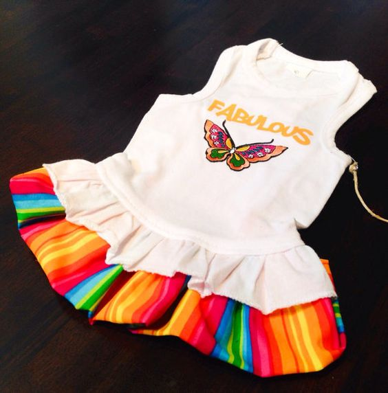 Fabulous Rainbow Dog Dress on Etsy, $42.99