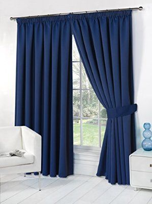 Dreamscene Thermal Pencil Pleat Blackout PAIR Curtains Ready Made ...
