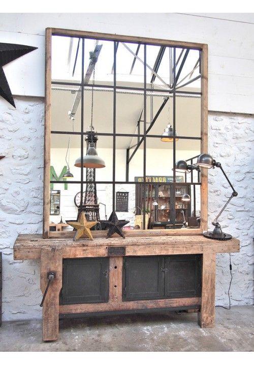 Etabli d'atelier vers 1940 en bois et métal: