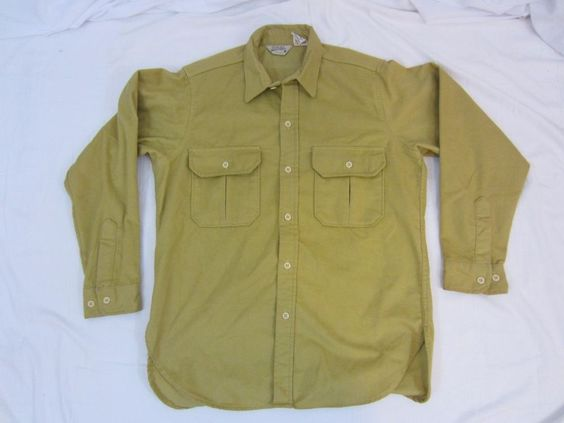 Men's Vintage Cabela's Long Sleeve Shirt Heavy Flannel TAN old Label Size L USA #Cabelas #ButtonFront