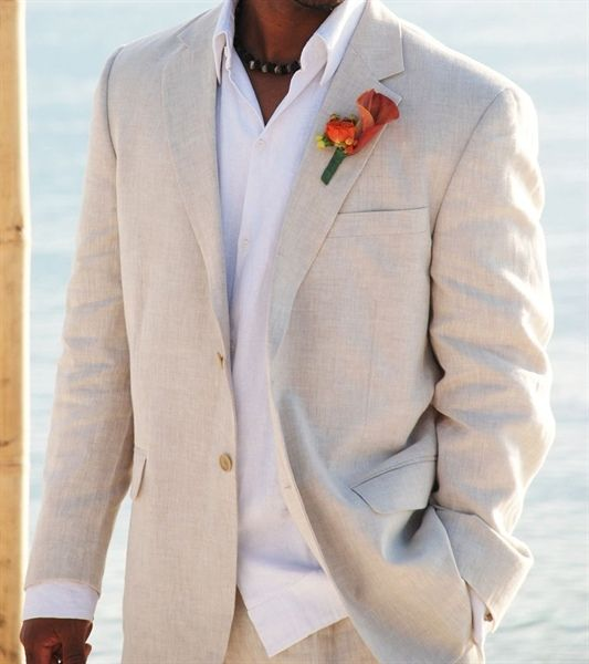 Beach Wedding Suits: Beige and white with orange calla lilie boutonnerie