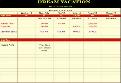 template for disney vacation itinerary disney travel tips pinterest disney vacations and. Black Bedroom Furniture Sets. Home Design Ideas