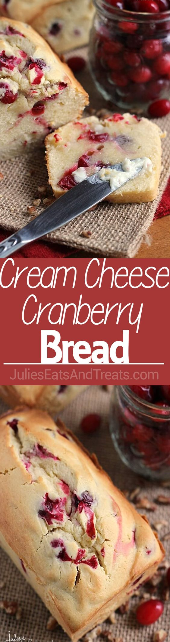 Cream Cheese Cranberry Bread Recipe via Julie's Eats and Treats ~ Amazingly Soft and Tender Quick Bread Stuffed with Tart Cranberries! #dessertbreads #neighborgifts #homemadegifts #foodgifts #breadrecipes #flavoredbreads #sweetbreads #holidaybread #bread #homemadebread #simplebreadrecipes #simplebread #simplerecipes