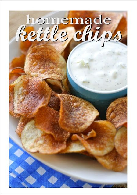 Homemade Kettle Chips Recipe-Looks pretty easy and yummy #kettlechips #homemade #partyfood #partydip  #dip